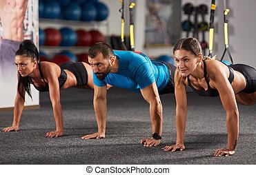 atlético, pessoas, fazendo, crossfit, treinamento