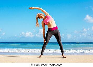 atlético, playa, mujer, condición física, extensión