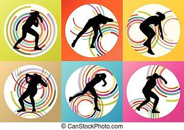 atlético, ponha, mulher, tiro, vetorial
