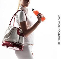 atlético, saco, mulher, bebida, esportes