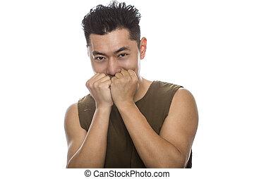 atlético, tímido, macho, asiático, ataque