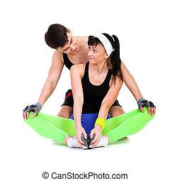 atlétikai, bábu woman, cselekedet, alkalmasság gyakorlás