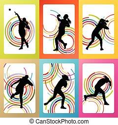atlétikai, dobás, nő, lövés, vektor