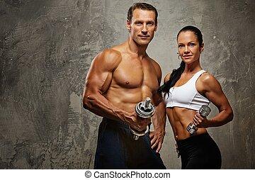atlétikai, dumbbells., nő, ember