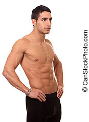 atlétikai, ember, shirtless