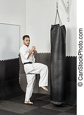 atlétikai, erélyes, karate, odaad, fekete, térd, megrúg, öv