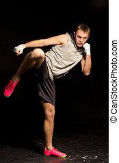 atlétikai, fiatal, kickboxer, rúgás, közben, egy, verekszik