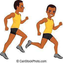 atlétikai, futó, ember