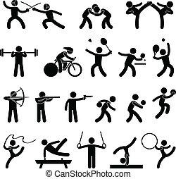 atlétikai, játék, szobai, sport, ikon