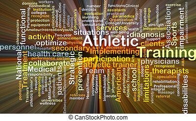 atlétikai, képzés, fogalom, izzó, háttér
