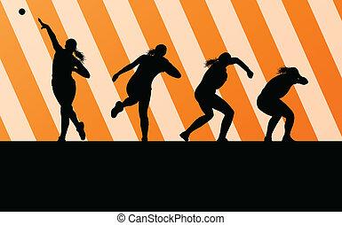 atlétikai, nő, vadászik becsül, vektor, háttér, fogalom