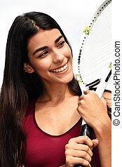atlétikai, női, teniszjátékos, mosolygós