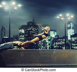 atlétikai, párosít, practisin, alatt, a, este