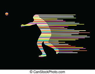 atlétikai, vadászik becsül, vektor, háttér, fogalom