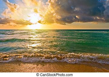 atlanský oceán, fl, usa, východ slunce