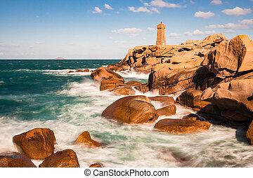 atlant- ocean, kust, in, bretagne