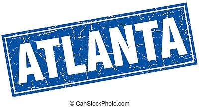 Atlanta blue square grunge vintage isolated stamp