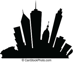 Cartoon skyline silhouette of the city of Atlanta, Georgia, USA.
