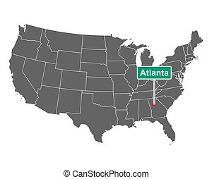 Atlanta city limit sign and map of USA