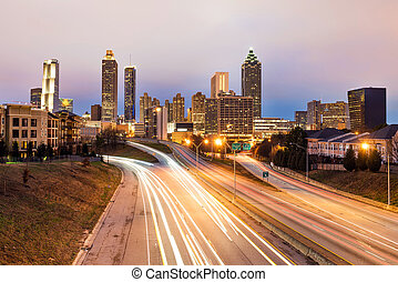 Atlanta downtown skyline at dusk