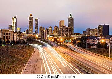 Atlanta downtown skyline at dusk