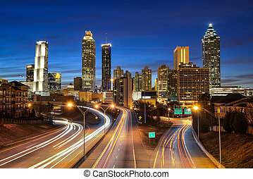 Atlanta downtown skyline during twilight blue hour