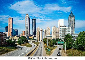 atlanta, downtown, skyline, hos, blå himmel