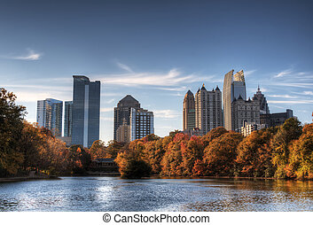 Atlanta From Piedmont Park - Skyline and reflections of...