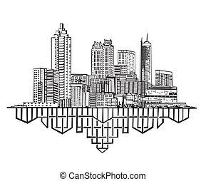 Atlanta, GA Skyline. Black and white vector illustration EPS...