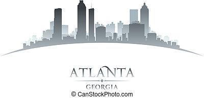 atlanta, geórgia, horizonte cidade, silueta, fundo branco