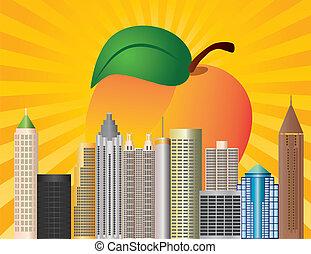 Atlanta Georgia City Skyline with Sun Rays and Peach Fruit in Background Illustration