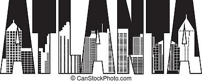 Atlanta Georgia City Text Outline Illustration - Atlanta...