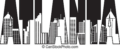 Atlanta Georgia City Skyline Text Outline Black and White Silhouette Illustration