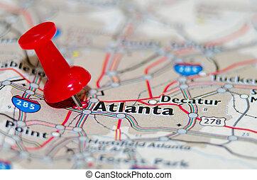 atlanta, georgia, ciudad, alfiler, en, el, mapa