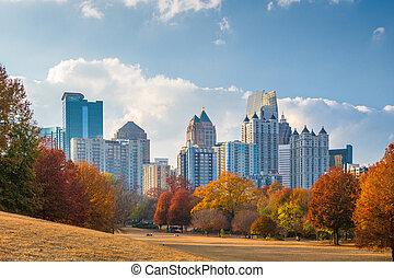 atlanta, georgia, estados unidos de américa, centro de la ciudad, contorno, de, piedmont, parque, en, otoño
