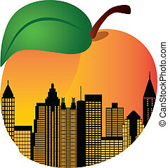 Atlanta Georgia City Skyline Night Silhouette Inside Peach Fruit Illustration