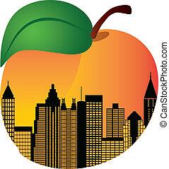 Atlanta Georgia City Skyline Night Silhouette Inside Peach Fruit Illustration