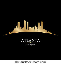 atlanta, georgia, perfil de ciudad, silueta, fondo negro