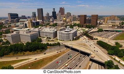 Atlanta Georgia Rush Hour Traffic Dusk Downtown City Skyline