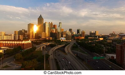 Atlanta Georgia Rush Hour Traffic Dusk Downtown City Skyline...