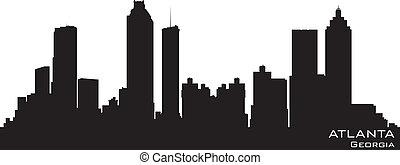 Atlanta, Georgia skyline. Detailed vector silhouette -...