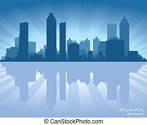 Atlanta, Georgia skyline illustration with reflection in water