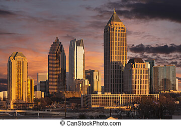 Atlanta Georgia Sunset Skyline