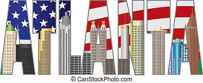 Atlanta Georgia Text Outline US Flag Color - Atlanta Georgia...