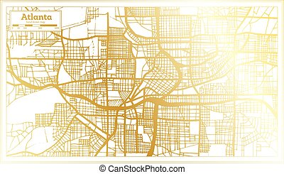Atlanta Georgia USA City Map in Retro Style in Golden Color. Outline Map.