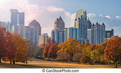 Atlanta, Georgia, USA midtown skyline from Piedmont Park