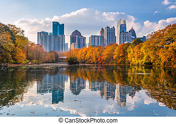 Atlanta, Georgia, USA Piedmont Park skyline in autumn