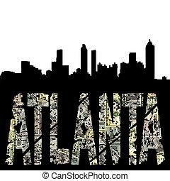 Atlanta grunge text with skyline
