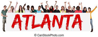 atlanta, grupo, de, joven, multi étnico, gente, tenencia,...