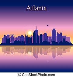 Atlanta silhouette on sunset background